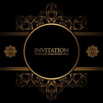 Golden template invitation card