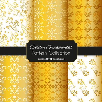 Golden ornamental pattern collection