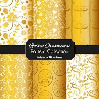 Golden ornamental wallpaper patterns