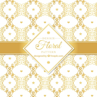 Golden pattern with floral style