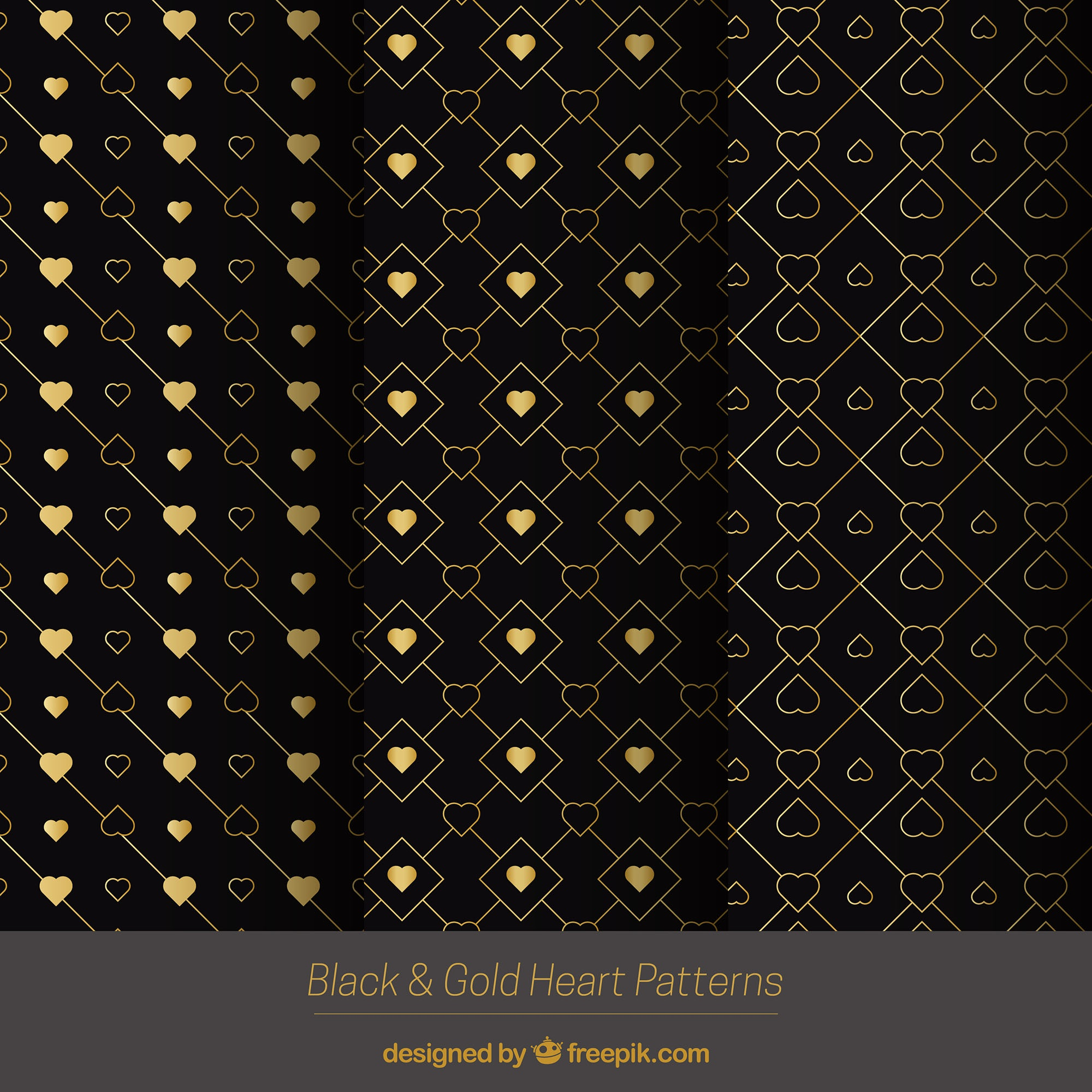 Golden patterns with decorative hearts