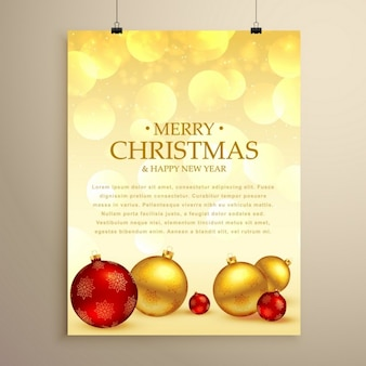Golden poster, merry christmas