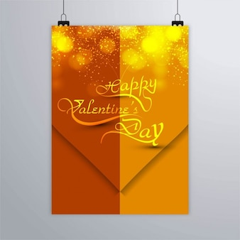 Golden poster with a heart and fireworks
