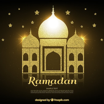 Golden ramadan background with mosque and stars