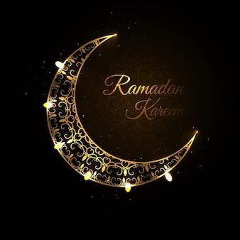 Golden ramadan moon background design