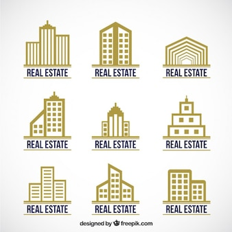 Golden real estate logotype collection