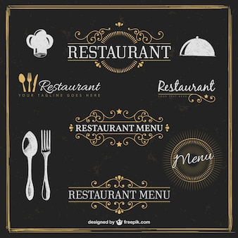 Golden restaurant badges in retro style