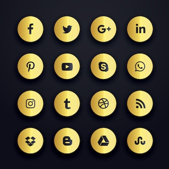 Golden round social media icons