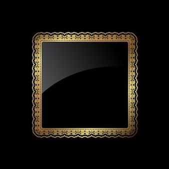 Golden rounded square frame