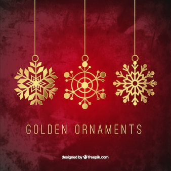 Golden snowflawes ornaments
