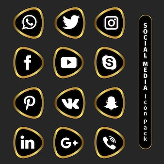 Golden social media icon pack