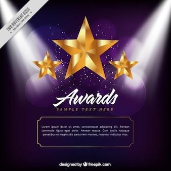 Golden stars award background