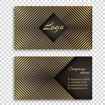 Golden stripes business card design