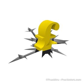 Золотой символ фунта стерлингов