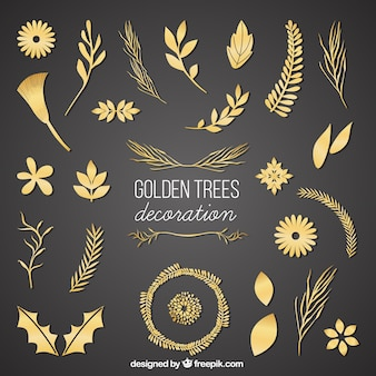 Golden trees decoration