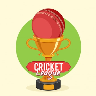 Golden Trophy Cup with red ball for Cricket League concept.