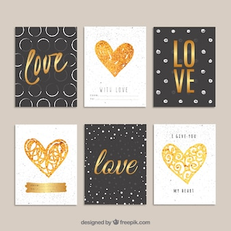 Golden valentines day cards