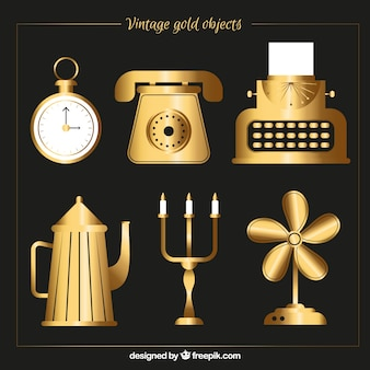 Golden vintage object collection