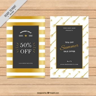 Golden watercolor stripes and arrows sale flyers