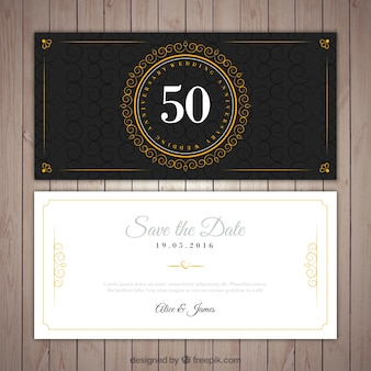 Golden wedding elegant invitation