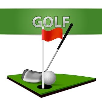 ゴルフボールクラブとグリーングラスエンブレム