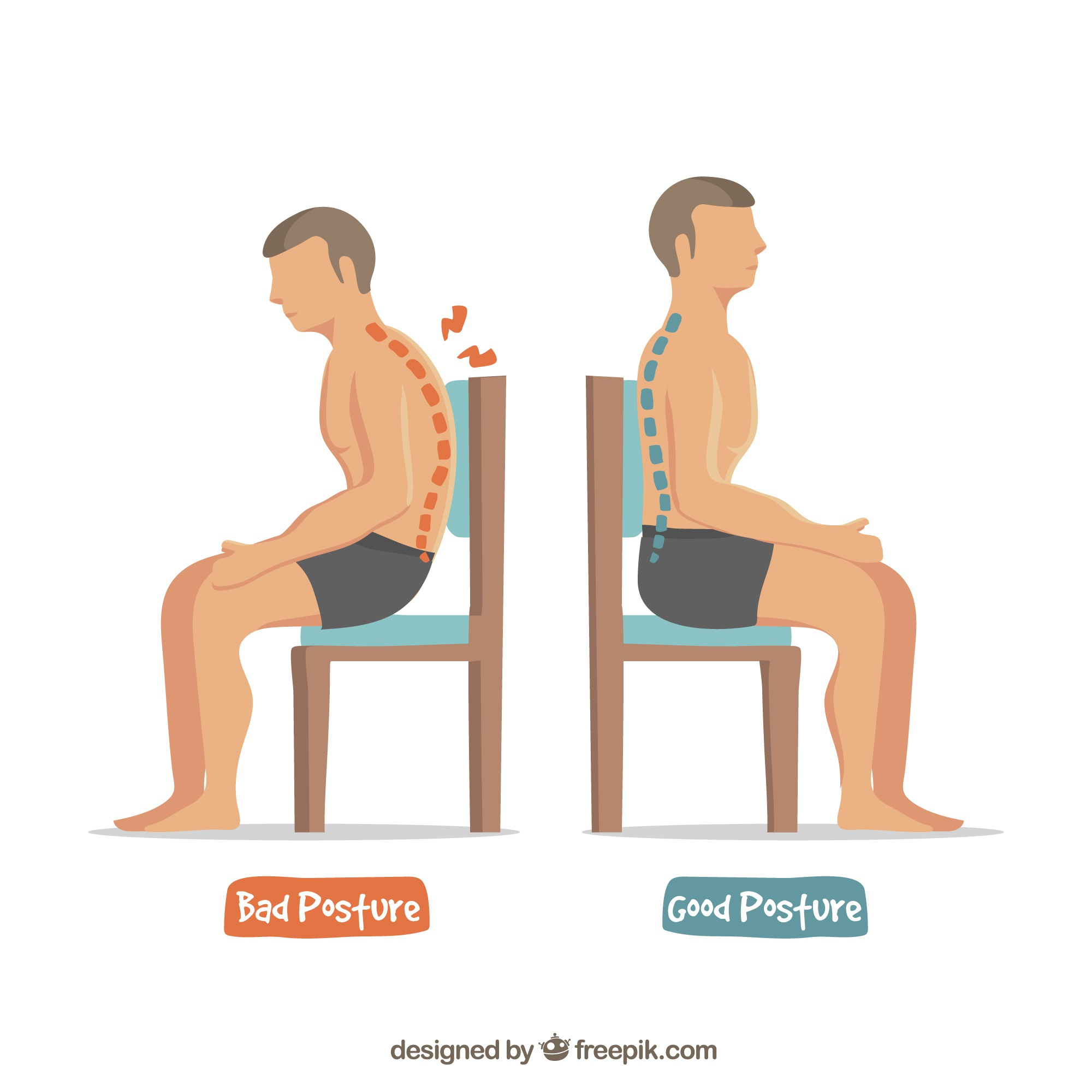 Good and bad sitting postures