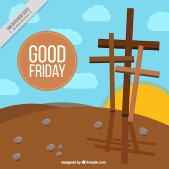 Good Friday background with sunset scene