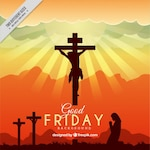 Good Friday silhouettes sunset background