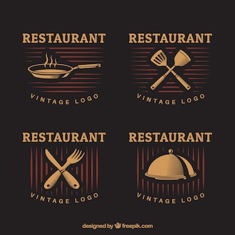 Gorumet restaurant logos with vintage style