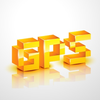 Gps text design illustration
