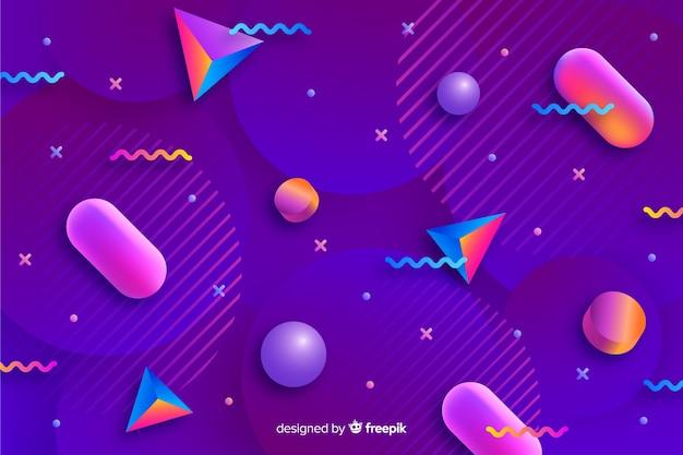 Gradient 3d shapes wallpaper