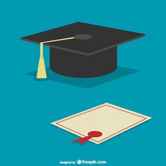 卒業キャップと卒業証書ベクトル