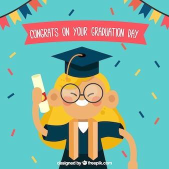 Graduation celebration of happy student