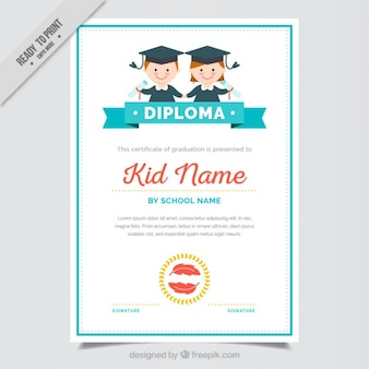 Graduation certificate for kids with blue details