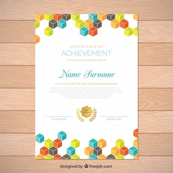Graduation certificate with colored squares