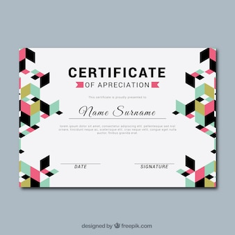 Graduation certificate with geometric forms