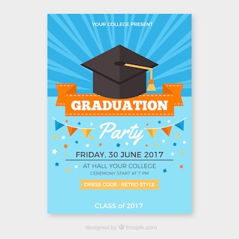 Graduation party brochure with orange details