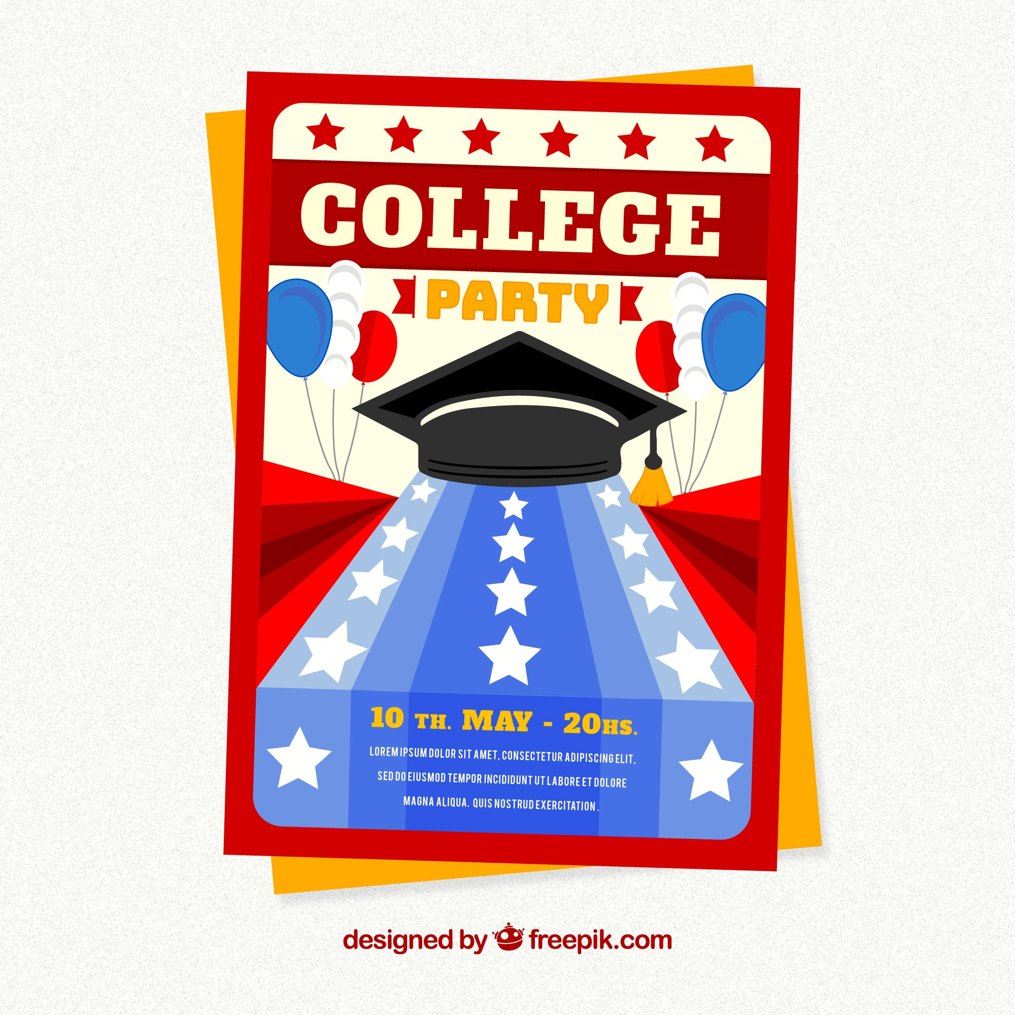 Graduation party brochure with stars and balloons