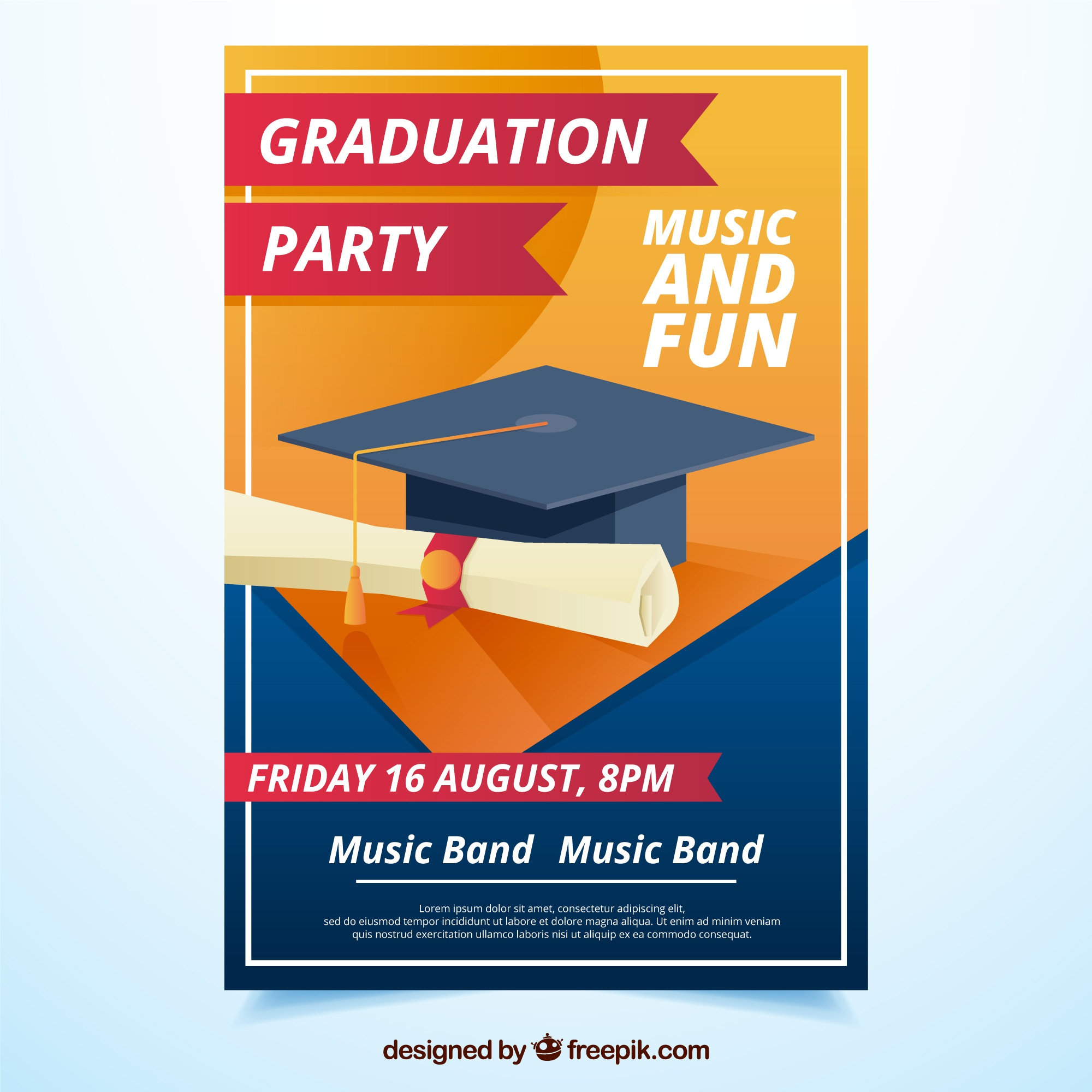 Graduation party flyer with diploma and graduation cap