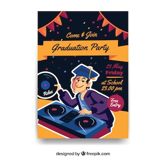 Graduation party leaflet with dj
