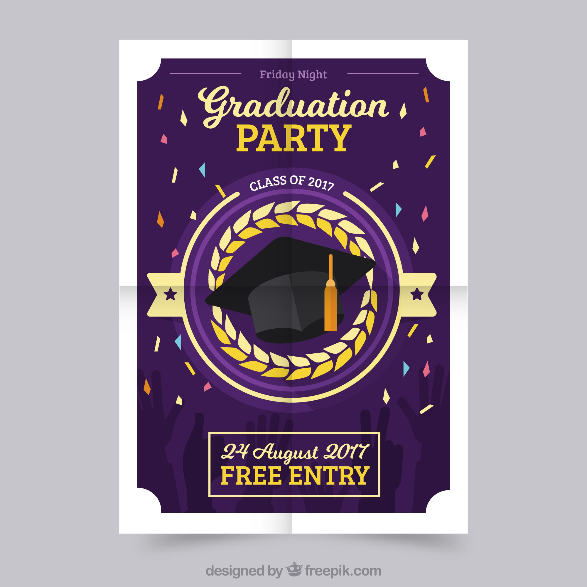 Graduation party poster with confetti