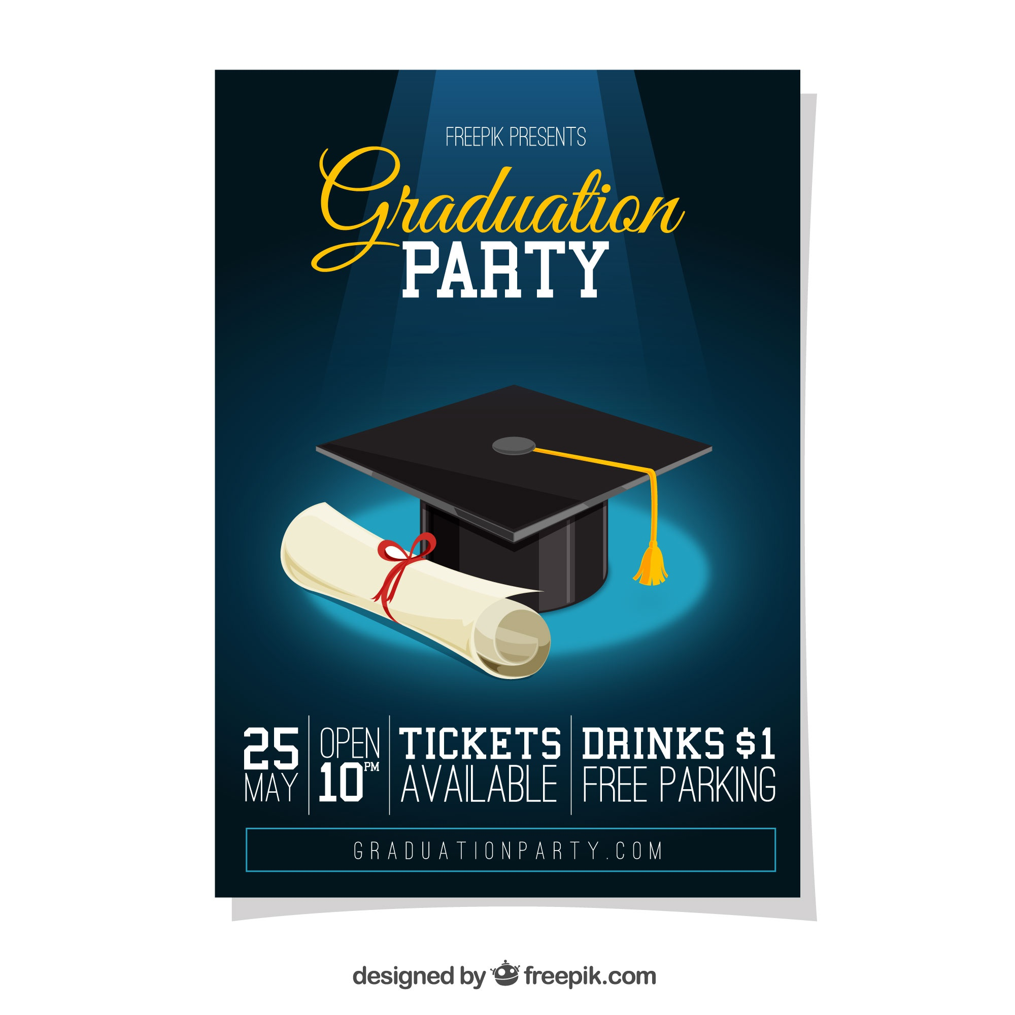 Graduation party poster with diploma and graduation cap