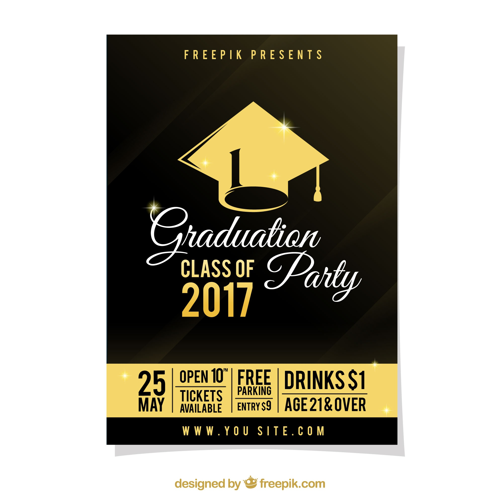 Graduation party poster with gold details