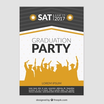 Graduation party poster with silhouettes