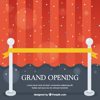 Grand opening background with red curtain and golden ribbon