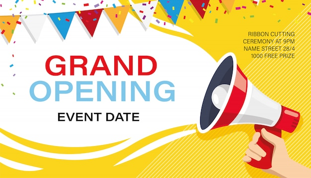 Grand opening banner template. advertising