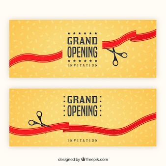 Grand opening banners with vintage style