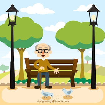 ベンチに座って祖父
