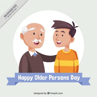 Grandfather with his grandson for the day of older persons