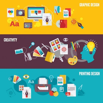 Graphic design digital photography banner set with creativity printing isolated vector illustration
